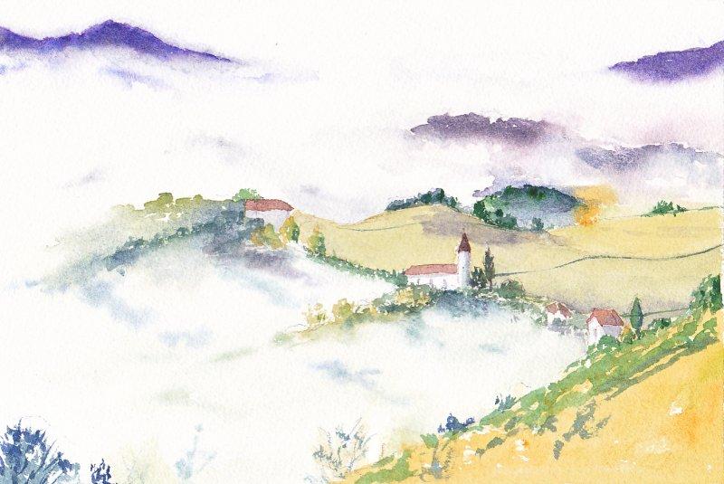 Colline dans la brume